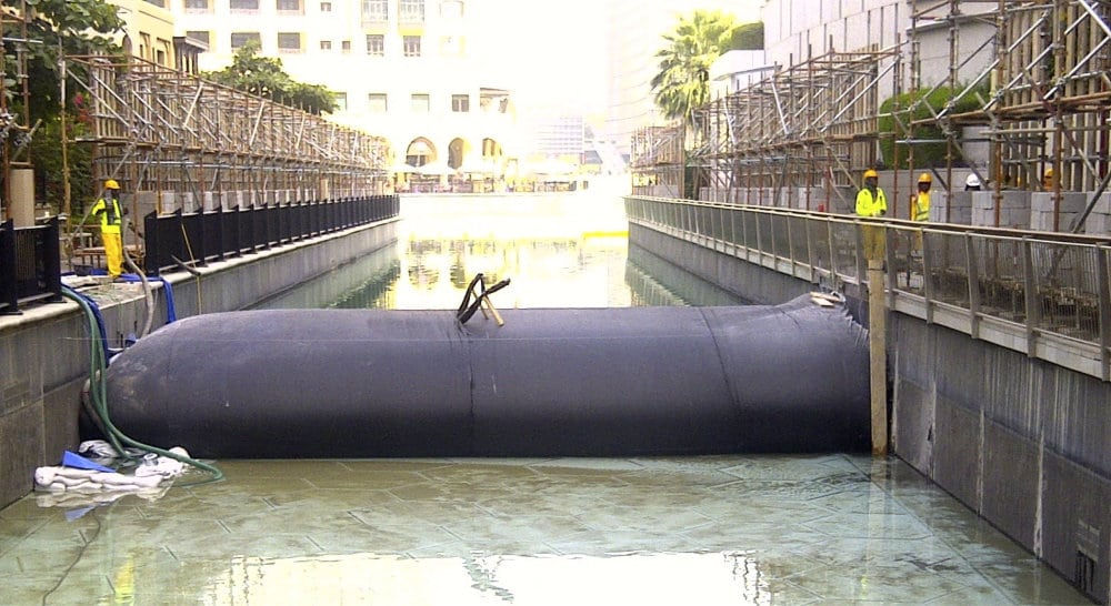 Dewatering fig. 2: A Cofferdam being used to repair a canal in the UAE