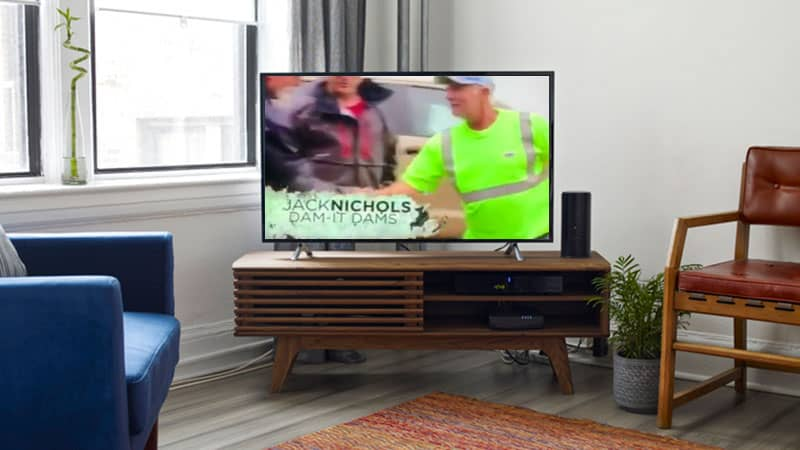 Picture Of TV Playing Video With Dam-It- Dams On.